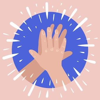 Przybij piątkę z dwiema rękami dając przybicie piątkę z koncepcją udanej pracy zespołowej