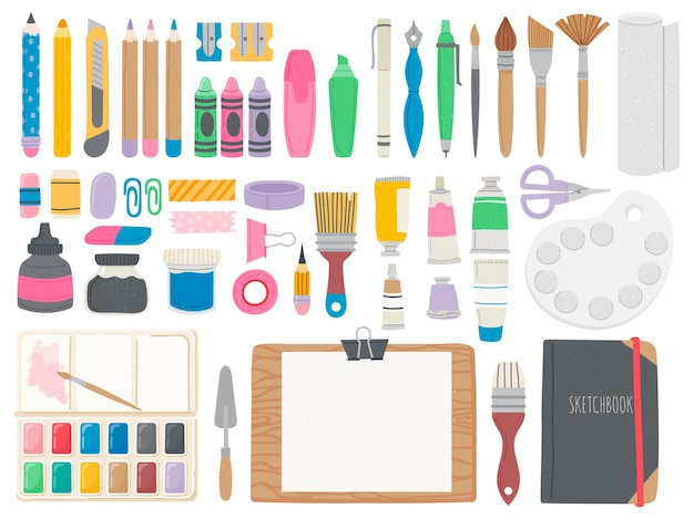 Przybory do sztuki. zestaw narzędzi artystycznych zawierający kredki, pędzle, tubki z farbami akwarelowymi, ołówki i sztalugi. sprzęt do rysowania i kaligrafii wektor zestaw. kolekcja pędzli do malowania ilustracji i materiały narzędziowe