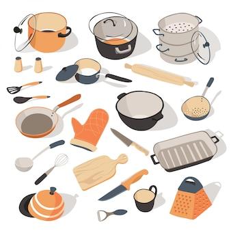 Przybory kuchenne i półmiski do kuchni z artykułami kulinarnymi