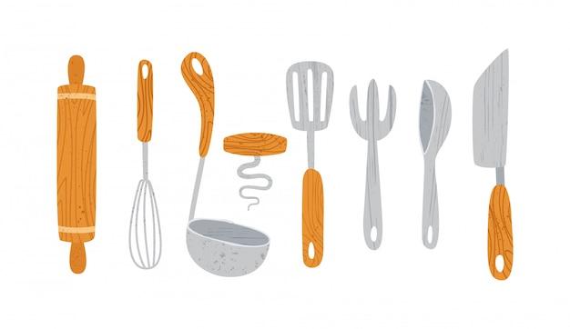 Przybory kuchenne lub elementy projektu naczynia kuchenne - łyżka, miska, szpilka rolki widelca, patelnia na białym tle
