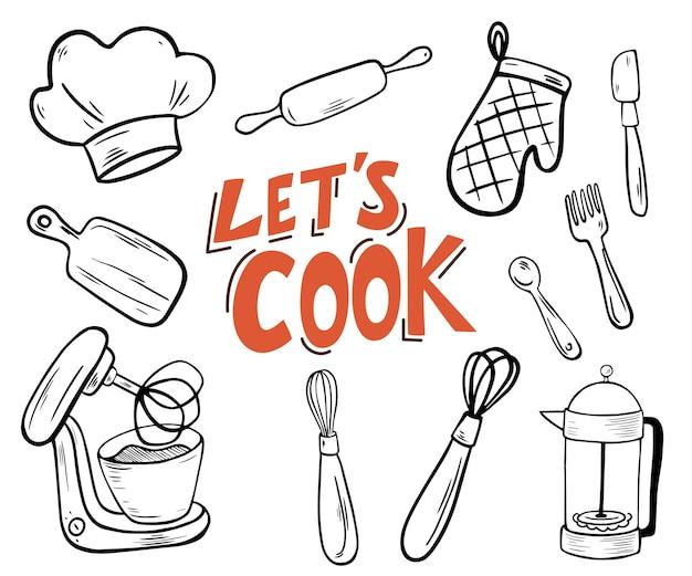 Przybory kuchenne. pozwala gotować napis. doodle styl wolnej ręki do rzeczy kuchennych. zestaw narzędzi kuchennych. ilustracja wektorowa na białym tle.