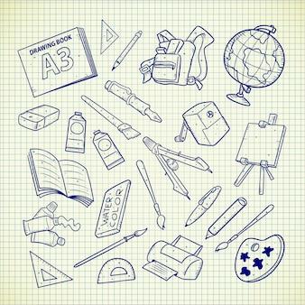 Przybory szkolne doodle