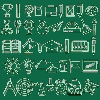 Przybory szkolne handdrawn szkic zarys ikony