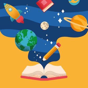 Przybory szkolne w książkach zestaw ikon