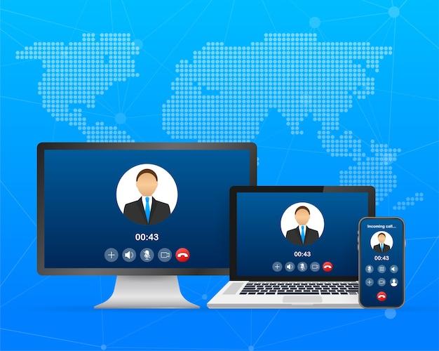 Przychodząca rozmowa wideo na laptopie. laptop z połączeniem przychodzącym, zdjęciem profilowym mężczyzny i przyciskami akceptacji odrzucania