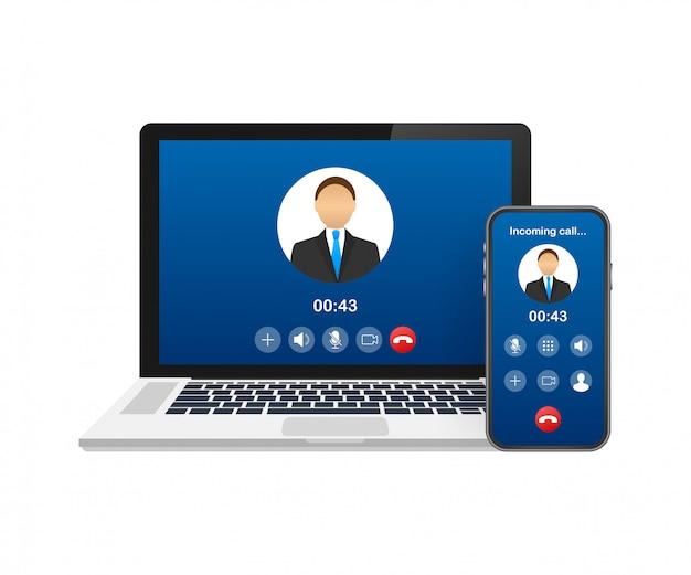 Przychodzące połączenie wideo na laptopie. laptop z połączeniem przychodzącym, zdjęcie profilowe mężczyzny i przyciski odrzucania. ilustracja.