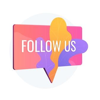 Przyciąganie publiczności, podążaj za nami znakiem powiadomienia. reklama w mediach społecznościowych, marketing online, naklejka promocyjna. dymek z typografią.