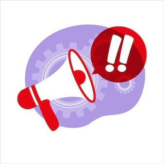 Przyciąganie uwagi, ważne ogłoszenie lub koncepcja ostrzegawcza. aktualności. głośnik, megafon. ilustracja wektorowa. mieszkanie.