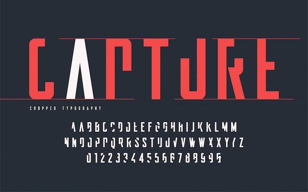 Przycięta typografia, zestaw wielkich liter i cyfr, alfabet.