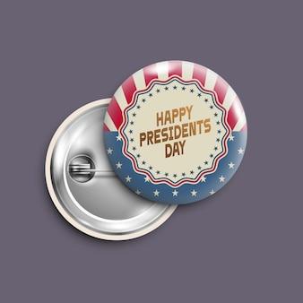 Przycisk dzień prezydentów, odznaka, baner na białym tle, w stylu retro