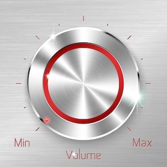 Przycisk głośności monochromatyczne na tle blachy metalowej.