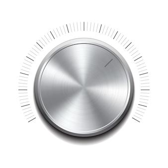 Przycisk głośności - pokrętło muzyczne z metalową fakturą. ilustracja