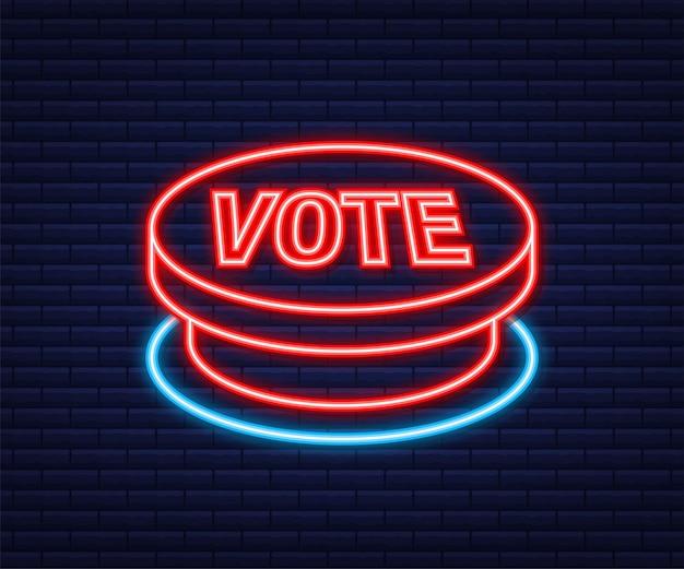 Przycisk głosowania. kliknij ikonę dłoni. kliknij ikonę palca. neonowa ikona. czas ilustracja wektorowa.