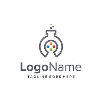 Przycisk gry i symbole laboratoryjne prosty, elegancki, kreatywny, geometryczny, nowoczesny projekt logo