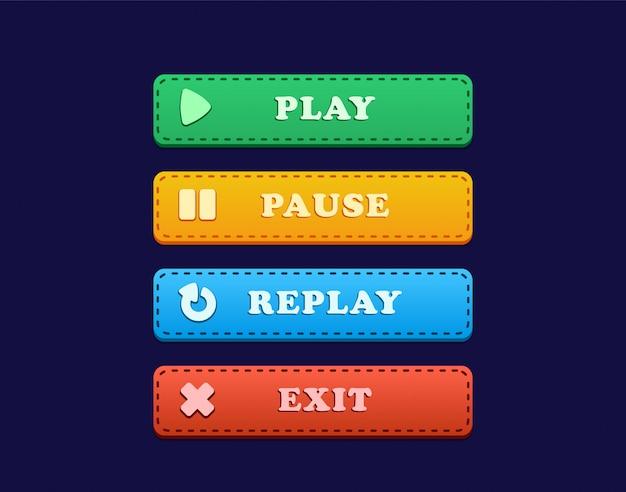 Przycisk interfejsu użytkownika do gry z odtwarzaniem, pauzą, powtórką i wyjściem, przycisk interfejsu użytkownika do gry, który obejmuje grę, pauzę, powtórkę i wyjście z cieniem