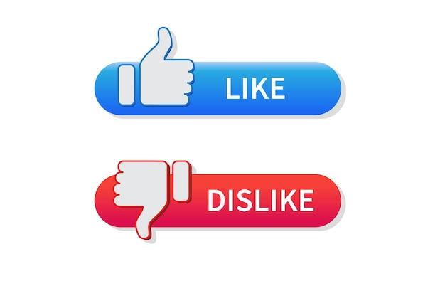 Przycisk kciuka w górę i kciuk w dół ikona lubię i nie lubię na białym tle