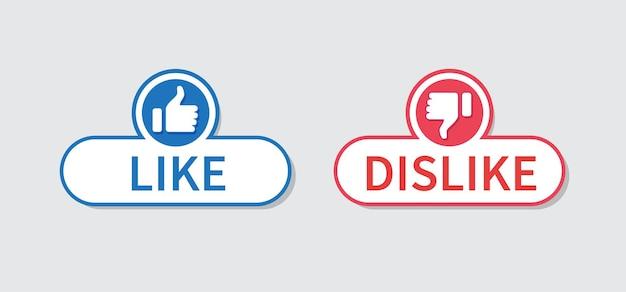 Przycisk kciuka w górę i kciuk w dół ikona lubię i nie lubię na szarym tle