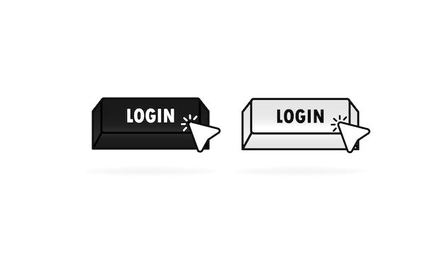 Przycisk logowania z kursorem, wskaźnikiem. ikona logowania do sieci. ilustracja wektorowa. eps10