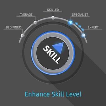 Przycisk lub przełącznik pokrętła wektorowego poziomów umiejętności. wykształcenie i biegłość, ilustracja ekspertyzy testowej