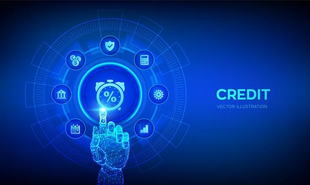 Przycisk oceny kredytowej kredyty lub pożyczki hipoteczne oceniające koncepcję biznesową na wirtualnym ekranie robotyczna ręka dotykająca cyfrowego interfejsu
