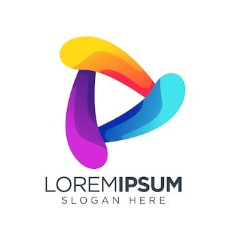 Przycisk odtwórz prosty szablon logo