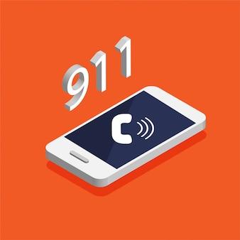Przycisk połączenia alarmowego 911. izometryczny smartfon z połączeniem na ekranie.