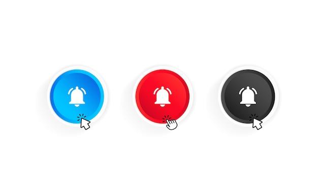 Przycisk powiadomień dzwonka i zestaw ikon kursora. przycisk zasubskrybuj kanał. blog. strumień. projekt interfejsu użytkownika. sieć mediów społecznościowych. wektor na na białym tle. eps 10.