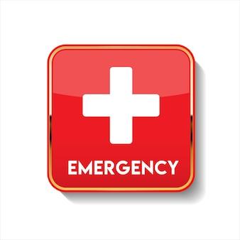 Przycisk strony pierwszej pomocy na białym tle