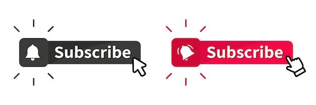 Przycisk subskrybuj z kursorem. przyciski lubię, komentuj i nie lubię. blogowanie, promocja, subskrybowanie kanału, bloga. subskrybuj na kanale. przesyłanie strumieniowe wideo na żywo ikona powiadomienia lub dzwonka wiadomości