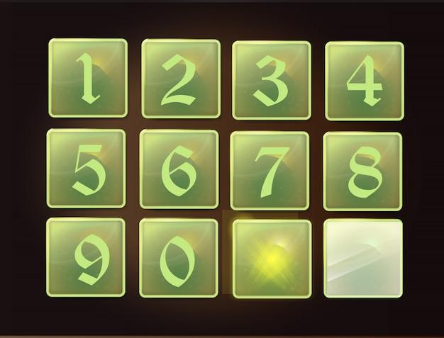 Przycisk szklany z numerami interfejsu aplikacji