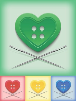 Przycisk w kształcie serca i skrzyżowane igły