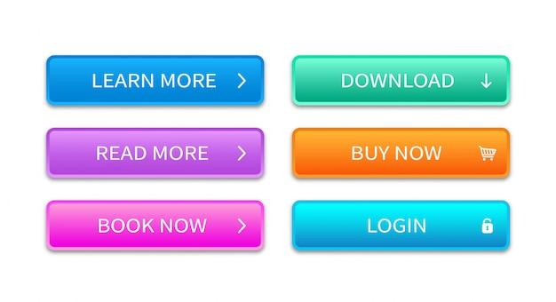 Przycisk web wielokolorowy prostokątny kształt. element koncepcji strony internetowej. modny zestaw przycisków do wykorzystania w internecie, interfejsie, aplikacjach i grach.