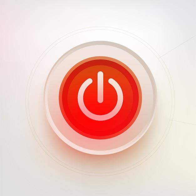 Przycisk wyłączania. ilustracja technologii. czerwony przycisk zasilania