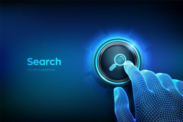 Przycisk wyszukiwania. zbliżenie na palec, który ma nacisnąć przycisk z ikoną wyszukiwania. wyszukiwanie przeglądanie koncepcji sieci informacji danych w internecie. po prostu naciśnij przycisk. ilustracji wektorowych.
