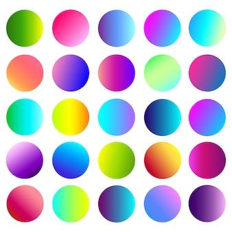 Przycisk z zaokrągloną holograficzną gradientową kulą.