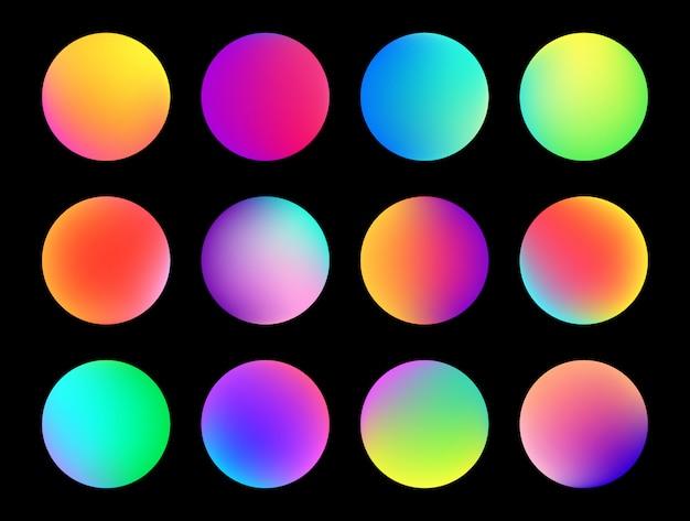 Przycisk zaokrąglonej holograficznej gradientowej kuli.