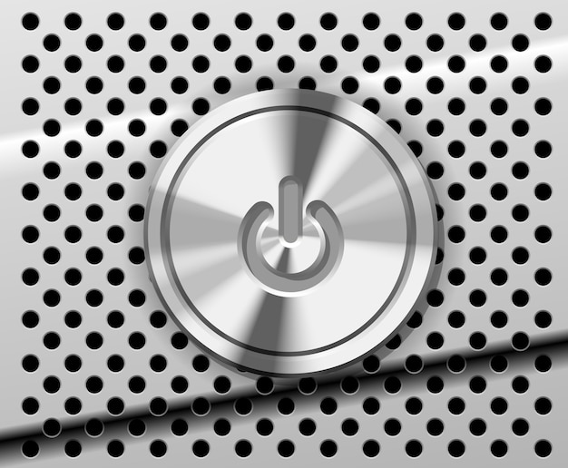 Przycisk zasilania na perforowanym metalu