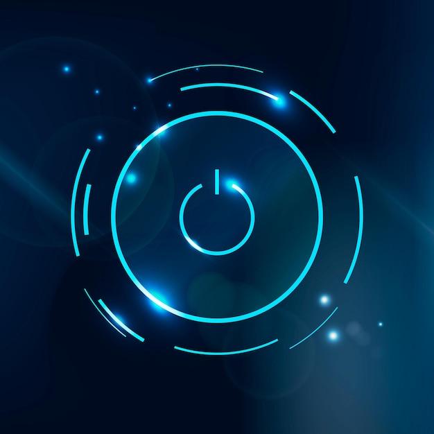 Przycisk zasilania wektor niebieska ikona