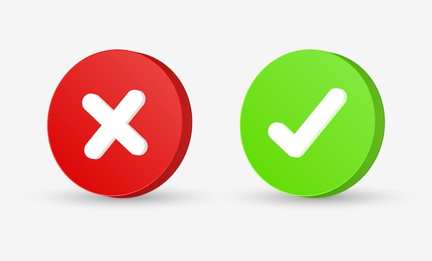 Przycisk znacznika wyboru 3d prawidłowy i niepoprawny znak lub zielony haczyk i czerwony krzyżyk