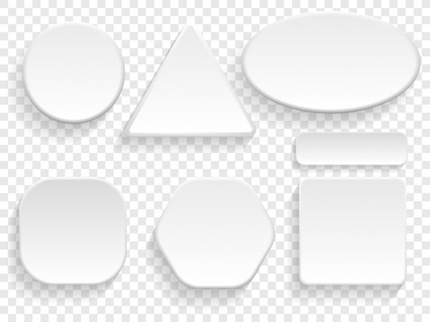 Przyciski 3d biały na białym tle zestaw o okrągłym, kwadratowym i trójkątnym lub prostokątnym kształcie.