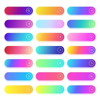 Przyciski gradientowe płaskie działania z miejsca na tekst. zestaw wektorów interfejsu użytkownika