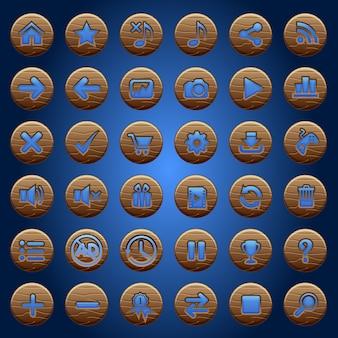 Przyciski gui drewniane ikony ustawione dla interfejsów gry niebieski.