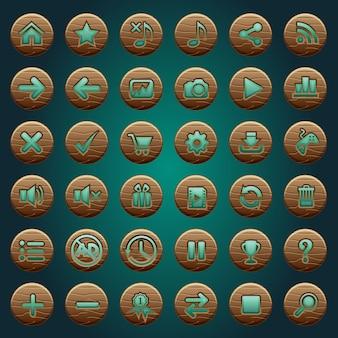 Przyciski gui drewniane ikony ustawione dla interfejsów gry zielony.
