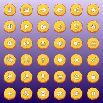 Przyciski gui płaski zestaw luksusowy kształt dla gier w kolorze żółtym.