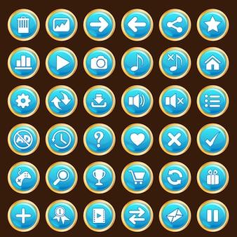 Przyciski gui ustawiają kolor niebieski i złote obramowanie.