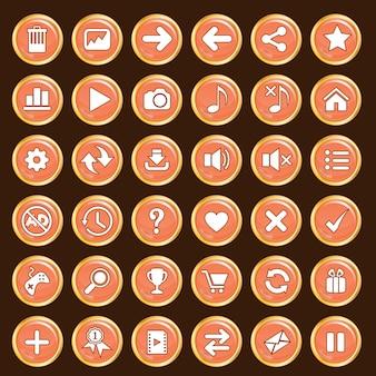 Przyciski gui ustawiają kolor pomarańczowy i złote obramowanie.