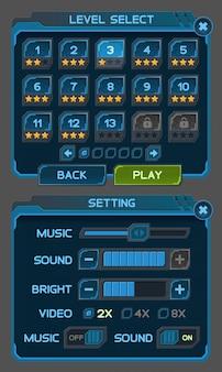 Przyciski interfejsu ustawione dla gier lub aplikacji kosmicznych