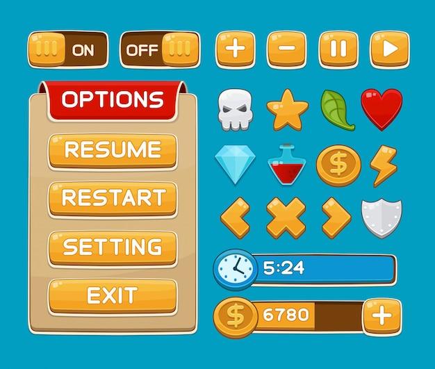Przyciski interfejsu ustawione dla gier lub aplikacji