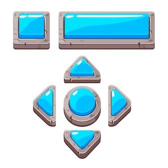 Przyciski kamień niebieski kreskówka do gry lub projektowania stron internetowych