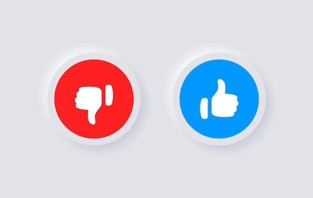 Przyciski lubię i nie lubię w projekcie interfejsu neumorphic lub ikonę kciuka w górę i w dół w kółku